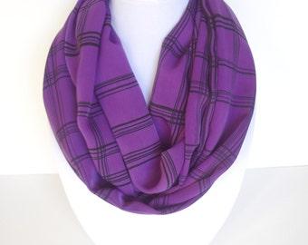 Purple Infinity Scarf, Cozy Scarf, Winter Scarf, Geometric Scarf, Black and Purple Scarf