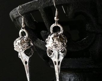 Skull Earrings, Bird Skull Earrings, Skull Jewelry, Pagan Earrings, Pagan Jewelry