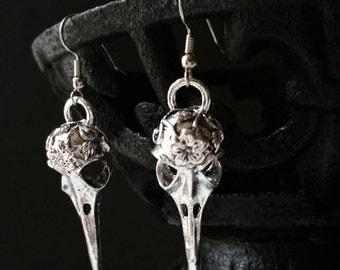 Skull Earrings, Bird Skull Earrings, Skull Jewelry, Pagan Earrings, Pagan Jewelry