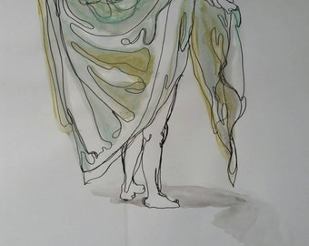 """14x17"""" Continuous Line Drawing of Model w/ Watercolors and Pastels - 2015"""