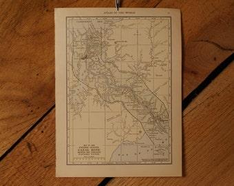"1921 - Panama Canal Map - Antique Atlas Map 6"" x 8"""