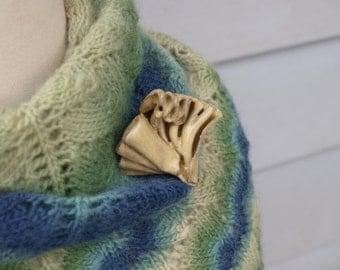 Ceramic Ruffle Brooch RAW HONEY