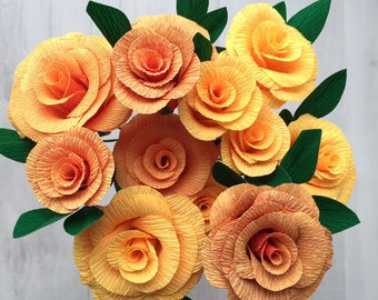 Crepe Paper Roses - orange gradient, handmade bunch of 12 roses - 35cm wired stems with leaves, beautiful for weddings or a gift