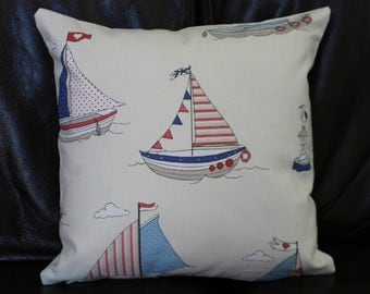 Handmade Nautical Seaside Sailor Cushion Cover Sailing Boat Seagull Navy Blue Red Maritime