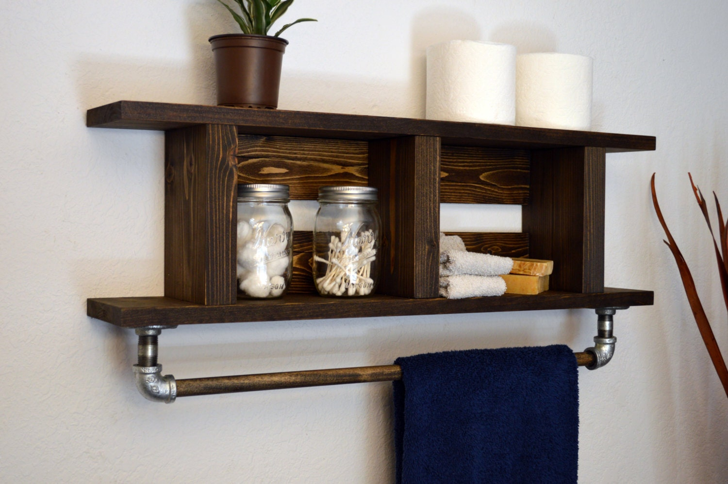 Rustic Modern Bathroom Wood Towel Bar 2 Tier By