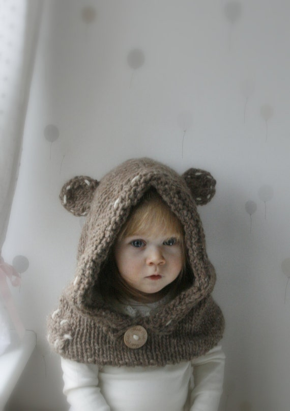 KNITTING PATTERN teddy bear hooded cowl Barri baby by MukiCrafts