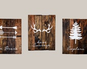 "be Brave have Courage Explore - 14x18"" Large - Reclaimed Wood Planked Art - Set of 3 - Rustic Nursery / Woodland -"