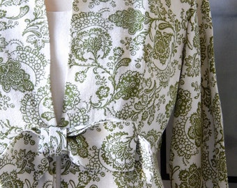 Linen Dress with Overcoat Printed in Green Damask Pattern / Womens / Vintage / Ivory / Size 4/6