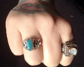 Native American Blue Gem Turquoise + Sterling Silver Ring Size 9