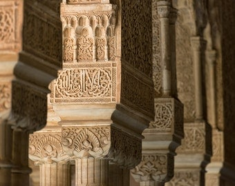 Alhambra Palace Detail, Granada, Spain, Palace, Fortress, Andalusia, España, Moorish Architecture - Travel Photography, Print, Wall Art