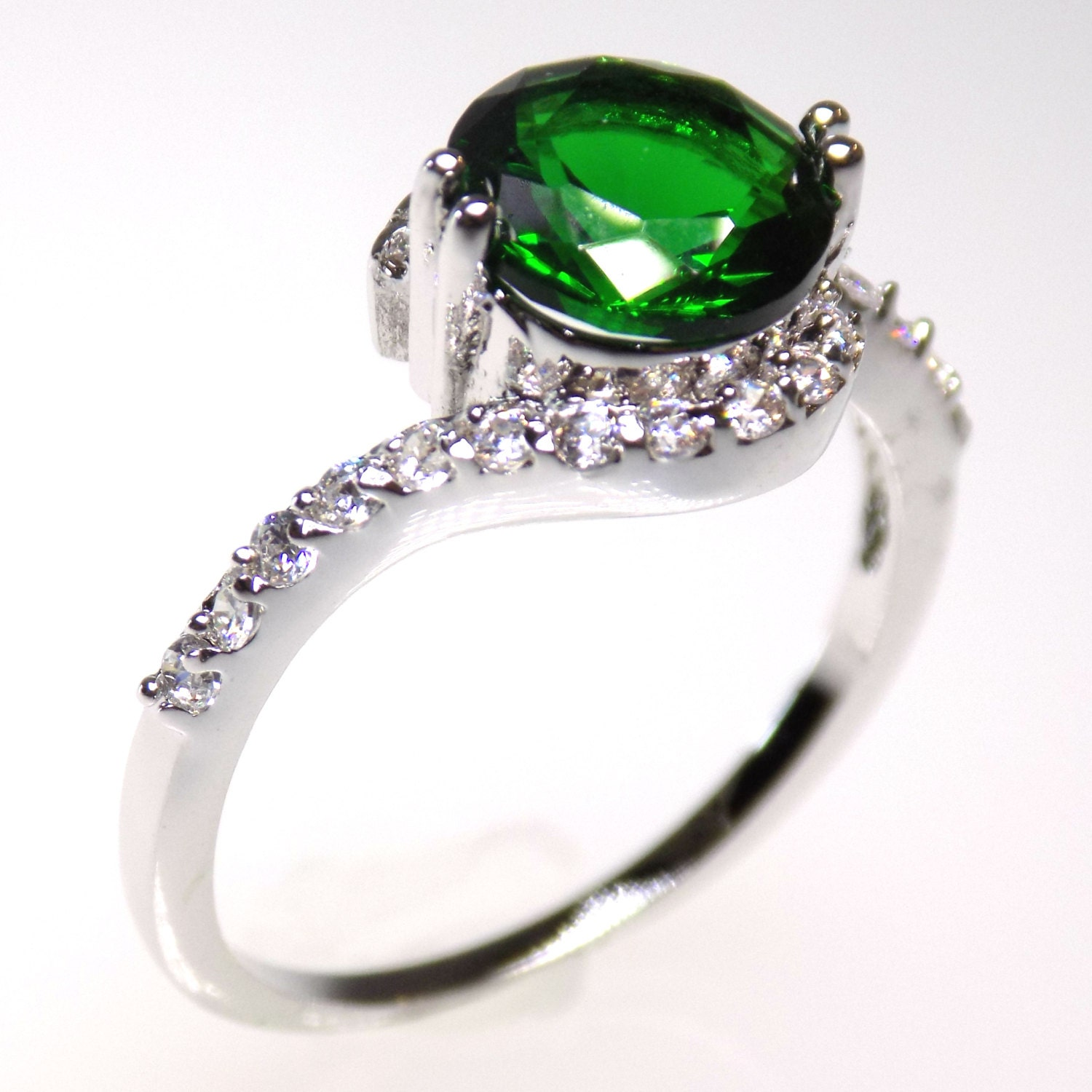 emerald engagement ring cz ring emerald ring cz engagement