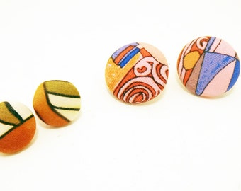 Retro Fabric Button Earrings