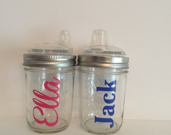 1 Personalized Glass Mason Jar Sippy Cup, Canning Jar Sippy cup, custom baby cup, Personalized Baby Cup, Toddler Cup, party favor, baby gift