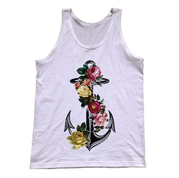 Floral Anchor Tattoos Floral Anchor Tank Top