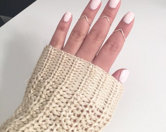 Midi Above Knuckle Rings - Set of 3 or 1 - Chevron midi rings, chevron ring, stacking ring,wire ring, tarnish resistant ring, midi ring
