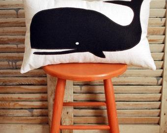 Black Whale cotton denim lumbar throw pillow, chair pillow,  lumbar pillow, wool felt, coastal home, beach house decor, The Salty Cottage