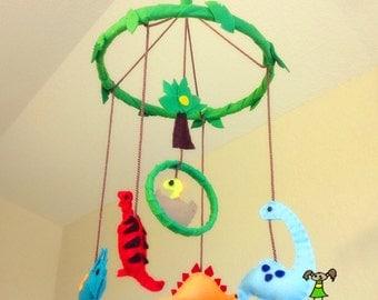 ON SALE!--Dinosaur Baby Boy Crib Mobile, Nursery Decoration, Baby Shower Gift