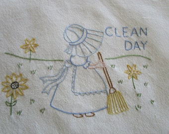 Hand Embroidered Cleaning Day - Days of the Week Kitchen Towel