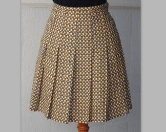 70s Vintage Mini Skirt // Pleated // Yellow-Blue