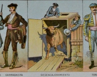 Bullfighting print. Old book plate, 1910. Antique  illustration. 105 years lithograph. 9'4 x  12'5 inches.