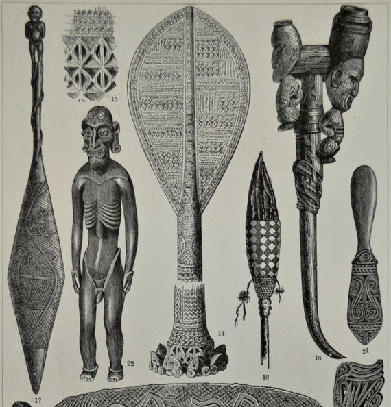 Oceanic cultures. Old book plate,1897. Antique illustration. 118 years lithograph. 9'2 x 6 inches.