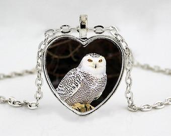 Snowy Owl Heart Pendant Necklace - Owl Jewelry - Owl Necklace - Bird Pendant Necklace