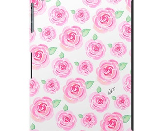 iPad case, ipad cover, ipad mini, ipad air, fashion illustration, fashion art, floral, pretty ipad case, watercolor - Vintage Pink Roses