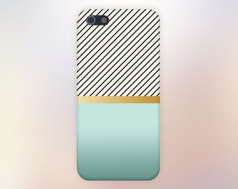 Teal Fade Gold Stripe Zebra Print Phone Case,iPhone 7, iPhone 7 Plus, Tough iPhone Case, Galaxy s8, Samsung Galaxy Case, Note 5, CASE ESCAPE