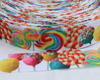 Cake Pop 1 Inch Grosgrain Ribbon by the Yard for Hairbows, Scrapbooking, and More!!