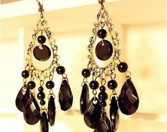 Black Water Drop Earrings
