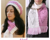 25% OFF. 2 Crochet patterns: 1 Beret in two colors + Fringed scarf with hearts on it. Instant download  _ SBG1