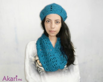 Chunky crochet cowl PDF pattern. Moebius circle scarf.  Easy level _ C06a