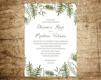 Printable Wedding Invitation Suite - In the Woods, Customizable, Hand Drawn, Woodland, Ferns, Pine Bows, Forest, Rustic