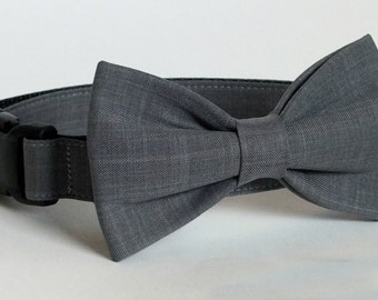 Gray Suiting Dog Collar Bow Tie set, wedding