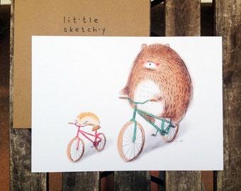 Bike ride. Kids room art. Nursery room art. Children art. Bear illustration