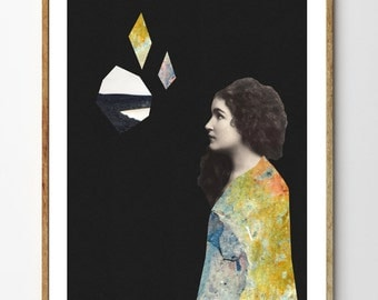 She - Surreal Art, Mixed Media Collage, Wall Art Print, Geometric Art, Vintage Art, Colorful Art, Women, Rocks and Minerals, Wall Decor
