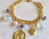 Bracelet - Saint Mary Magdalene Iolite, Opalite, Freshwater Pearl - 18K Gold Vermeil
