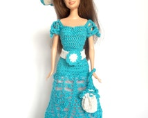 Turquoise Barbie doll dress - OOAK hand crochet light blue lacy fashion doll outfit, romantic blue and white Barbie doll costume