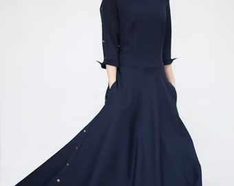 Dark Blue Dress - Blue Long Dress - Viscose Dress - Long Sleeve dress - Maxi dress - Dress with Rivets - Dress with Pockets - Day Dress