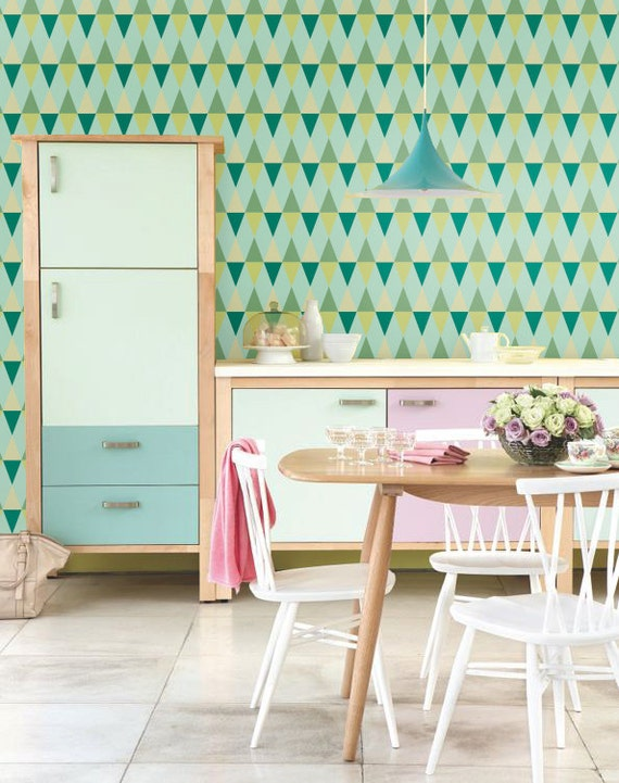 Self adhesive wallpaper, wall decal - Triangle pattern - 023 mint/ emerald/ chartreuse/ poison/ pine