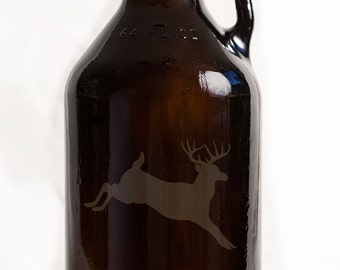 Jumping Buck Deer Customizable Customizable Etched Glassware Beer Growler Barware Gift