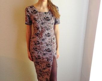90s floral dress, 90s grunge dress , grunge floral dress,   hipster floral dress,  flirty slit dress, 90s grunge dress