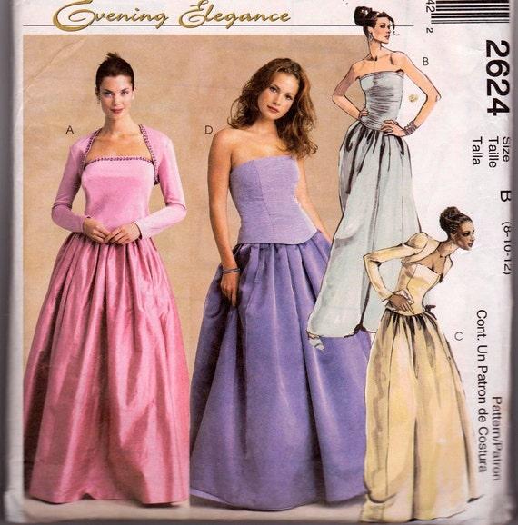 Wedding Dress Pattern McCalls 2624 Evening Dress Top Skirt