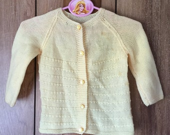 Vintage Yellow Knit Baby Sweater 18mos