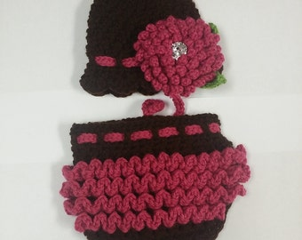 Delila Hat & Ruffle Diaper Cover Set *MADE TO ORDER*