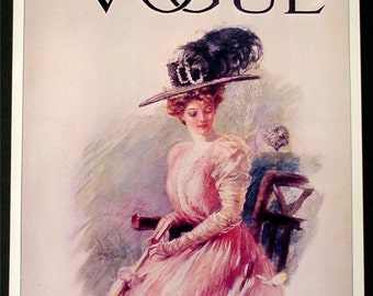 "VOGUE Magazine Poster Vintage Print April 16th 1908 Titled ""Spring Fashions""  Photo by Stuart Travis Art Nouveau Decor"