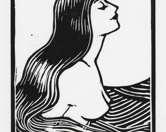 """Mermaid in the Sunlight, 6 x8 """" Linocut Original Print Signed by the Artist,"""