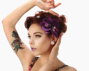 Rock Rockabilly Pin up Bridal Purple Orchid hair  flower comb fascinator