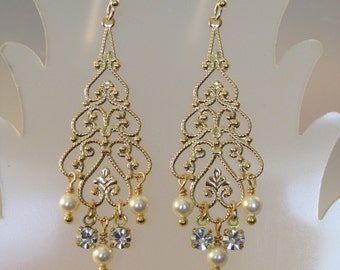 Swarovski Crystal Pearl Earring, Pearl Crystal Earring, Pearl Crystal Chandelier, Bride Earring, Wedding Earring, Gold Filigree, Bridesmaid