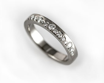 Unique wedding band with diamonds. Contemporary and modern wedding ring, alternative half eternity ring, unique engagement ring, lace ring
